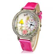 3D женщин цветка Pattern Diamante набора PU Группа Кварцевые аналоговые наручные часы (разных цветов)