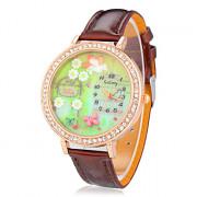 3D Женские Бабочка Diamante Круглый циферблат PU Группа Кварцевые аналоговые наручные часы
