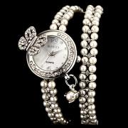 3D Женские Diamante Бабочка Маленький круглый циферблат Оливе Группа Кварцевые аналоговые часы браслет (разных цветов)