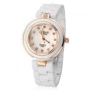 Алмазный Женские Pattern белый циферблат Керамическая Группа Кварцевые аналоговые наручные часы (разных цветов)