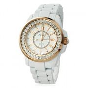 Алмазный женские золота стали аналоговые кварцевые наручные часы (белый)