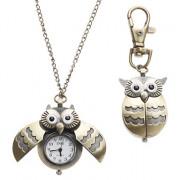 Аналоговые кварцевые часы подвеска унисекс с дизайном в виде совы (под бронзу)