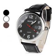 Аналоговые кварцевые наручные часы унисекс с функцией календаря и ремешком из кожзама (разные цвета)