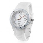 Аналоговые кварцевые спортивные наручные часы унисекс с сликоновым ремешком (белые)