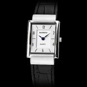 Аналоговые кварцевые женские удаленного Серебряный Черный Кожаный ремешок наручные часы (черный)