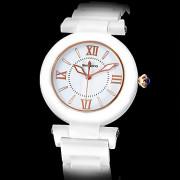 Аналоговые кварцевые женские золото Циферблат цвета слоновой кости керамические группы наручные часы (Ivory White Band)