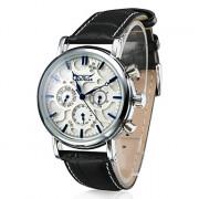 Аналоговые механические наручные часы унисекс с календарем и ремешком из кожзама (черные)