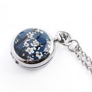 античный орхидеи кварца малых карманные часы колье цепочки (синий)