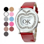 Apple, женский шаблон PU Аналоговые кварцевые наручные часы с алмазами (разных цветов)
