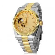 Авто-Механический женский скелет Круглый циферблат Стальной браслет кварцевые аналоговые наручные часы (разных цветов)