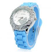Бабочка Женские Дизайн силиконовой лентой Аналоговые кварцевые наручные часы (синий)