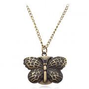 Бабочка женские формы белый циферблат сплава кварцевые аналоговые часы ожерелье