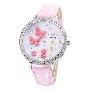 Бабочка Женский стиль PU кварцевые аналоговые наручные часы (розовый)