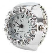 белый кристаллический женский стиль сплава аналоговые кварцевые часы кольцо (серебро)