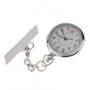Белый циферблат женские кварцевые аналоговые карманные часы с Pin