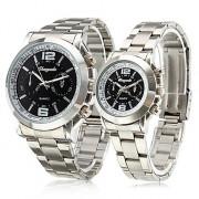 бизнес пару часов сплава аналоговые кварцевые пару с черным лицом (серебро)