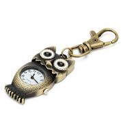 большая сова унисекс сплава аналоговые кварцевые часы брелок (бронза)