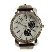 большой набор Кожа PU группы кристаллов характерно женщин девушки дамы наручные часы - черный