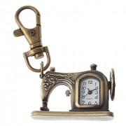Брелок в форме швейной машинки, из сплава бронзового цвета с часами, унисекс