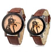 Cat пары шаблон PU Аналоговые кварцевые наручные часы (разные цвета полоса)