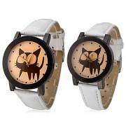 Cat пары шаблон PU Аналоговые кварцевые наручные часы (разных цветов)