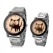 Cat Pattern пары стали аналоговые кварцевые наручные часы (разные цвета Dial)