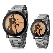 Cat Pattern пары стали аналоговые кварцевые наручные часы (разных цветов)