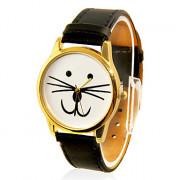 Cat Женские лицом дизайн Casual Band PU Аналоговые кварцевые наручные часы (черный)