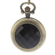 Черный Кристалл женские обложка сплава год сбора винограда Аналоговые кварцевые карманные часы с цепочкой