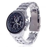 CJIABA 8082 Стальной браслет Простой календарь кварцевые наручные часы - черный + серебро (1 х LR626)