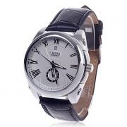 CJIABA GD102 римская цифра Механическая рука ветра часы ж / Простой календарь / Second Chronograph - черный + белый