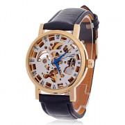 CJIABA GK8013 Стильный римская цифра Механическая рука ветра Автоматическая Мужские наручные часы - черный + золотой + белый