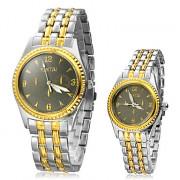 Classic Gold пары границы стали quarrtz аналоговые наручные часы (1 пара)