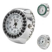 Crystal Design женщин сплава аналоговые кварцевые часы черное кольцо (разных цветов)