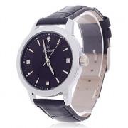 Daybird 3795 PU Кожаный ремешок Кварцевый Мужские наручные часы - черный + серебро (1 х LR626)