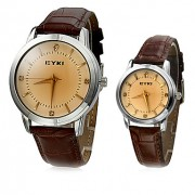 Diamante пары Круглый циферблат Браун PU Группа Кварцевые аналоговые наручные часы (разных цветов)