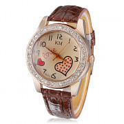Diamante волновой точки Женские форме сердца Pattern набора PU Группа Кварцевые аналоговые наручные часы (разных цветов)