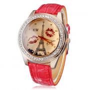Diamante Женские губы и печати башня шаблон набора PU Группа Кварцевые аналоговые наручные часы (разных цветов)