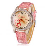 Diamante Женские I LOVE YOU Pattern набора PU Группа Кварцевые аналоговые наручные часы (разных цветов)