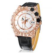 Diamante Женские Kitten Pattern набора PU Группа Кварцевые аналоговые наручные часы (разных цветов)