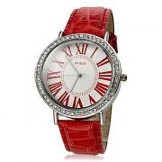Diamante Женские Круглый циферблат PU Группа Кварцевые аналоговые наручные часы (разных цветов)
