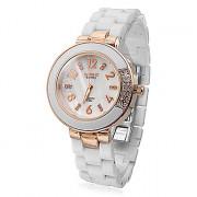 Diamante Женские Pattern белый циферблат Керамический браслет кварцевые аналоговые наручные часы (разных цветов)
