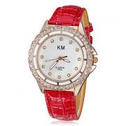 Diamante Женские Shell Зерно набора PU Группа Кварцевые аналоговые наручные часы (разных цветов)