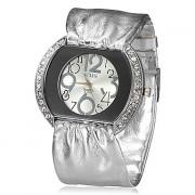 Diamante Женские удаленного Серебряный браслет кварцевые аналоговые наручные часы