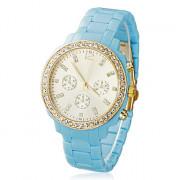 Diamante женские золото Циферблат полосе, кварцевые аналоговые наручные часы (разных цветов)