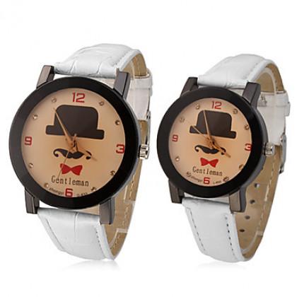 Джентльмен пары шаблон PU Аналоговые кварцевые наручные часы (разные цвета полоса)
