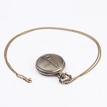 Эйфелева башня женщин сплава аналоговые кварцевые карманные часы (бронза)