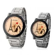 Эйфелева пары башня шаблон стали аналоговые кварцевые наручные часы (разные цвета Dial)