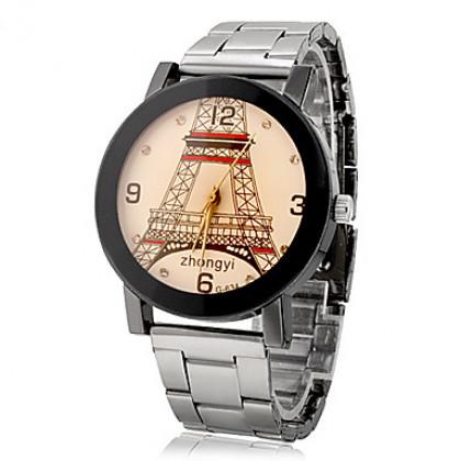 Эйфелева пары башня шаблон стали Кварцевые наручные часы Аналоговые (разные цвета Dial)