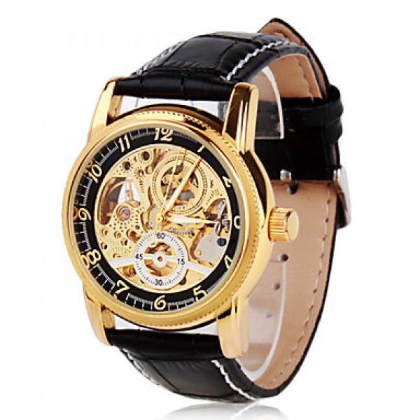 Подробнее. элегантные мужские искусственная кожа автоматического аналоговые наручные часы (черный